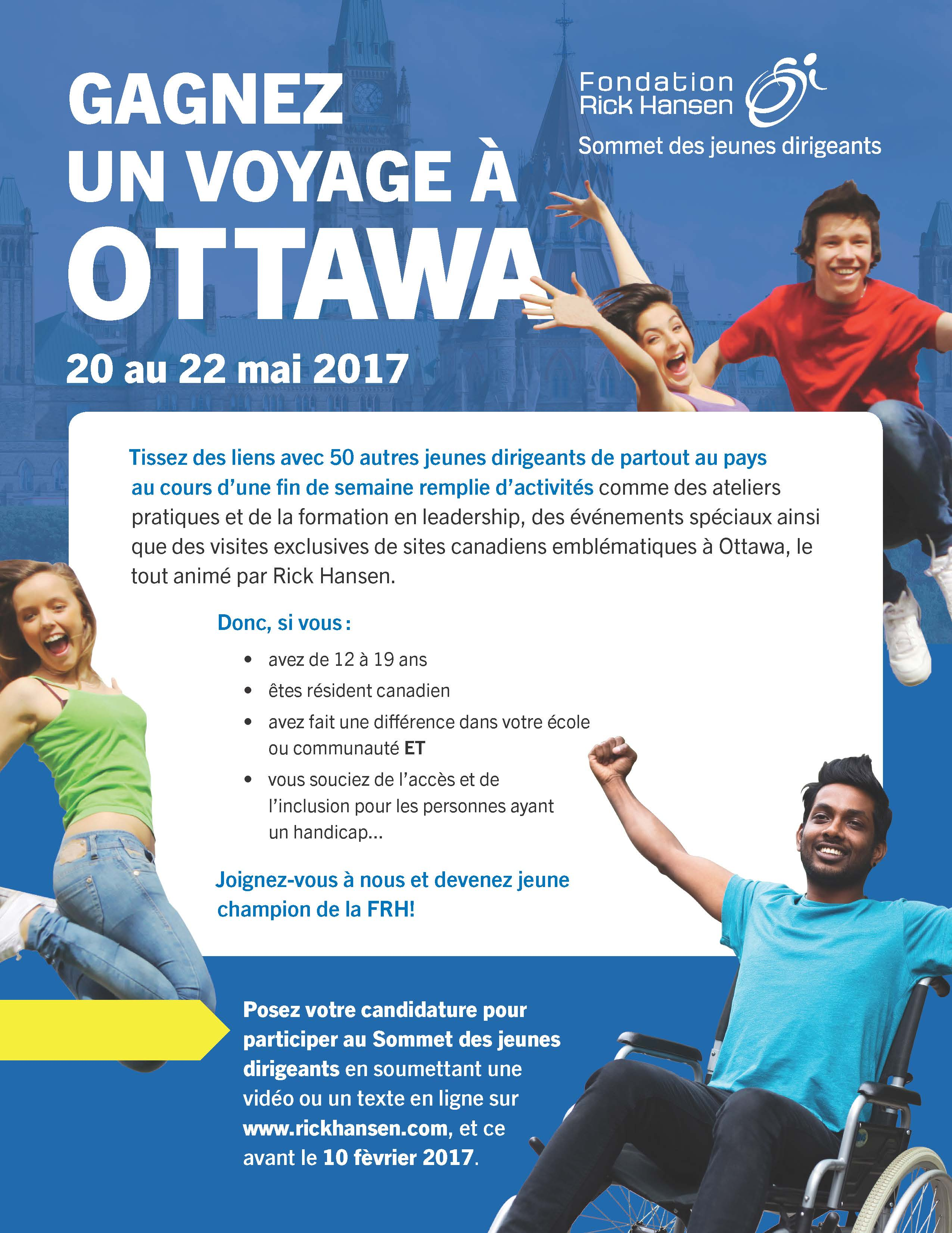Opportunity to Participate: Rick Hansen Foundation Youth Leadership Summit - Sommet des jeunes dirigeants  - Image 1