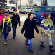 Grant recipients from Lakeview Elementary school in Meadow Lake, SK. delivering their Clusters of Kindness!